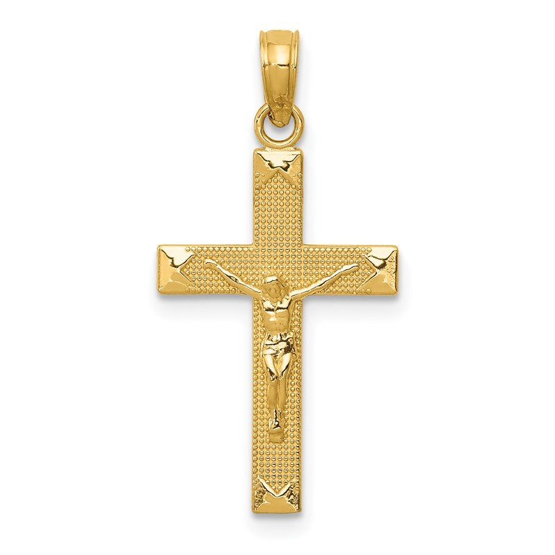 Quality Gold 14K Beveled Tipped Crucifix Pendant