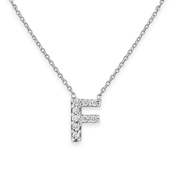 Diamond Bitty Block Initial F Necklace