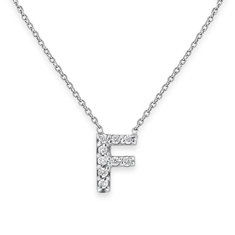 KC Designs Diamond Bitty Block Initial F Necklace