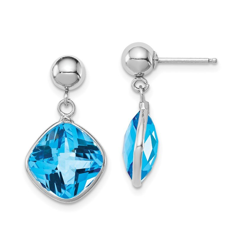 Quality Gold Sterling Silver Rhodium-plated Blue Topaz Dangle Post Earrings