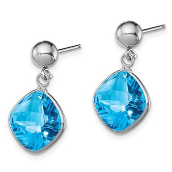 Sterling Silver Rhodium-plated Blue Topaz Dangle Post Earrings
