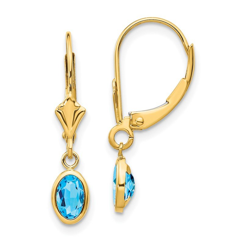 Quality Gold 14k 6x4 Oval Bezel December/Blue Topaz Leverback Earrings