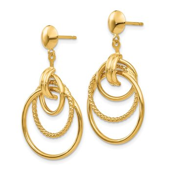 14k Polished and Textured Intertwined Circle Post Earrings