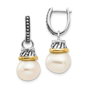 SS w/14k True Two-tone 10mm FW Cultured Pearl Dangle Earrings