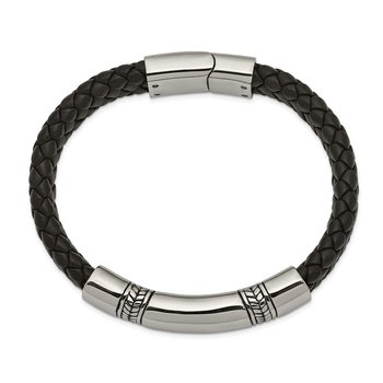 Stainless Steel Antiqued and Polished Black Leather 8.25in ID Bracelet