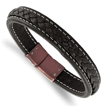 Stainless Steel Polished Brown IP-plated Brown Leather 8.25in Bracelet