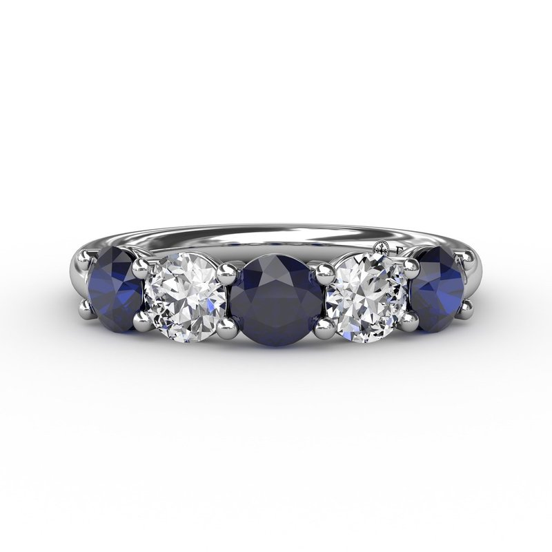 Fana Chunky Sapphire and Diamond Shared Prong Anniversary Band
