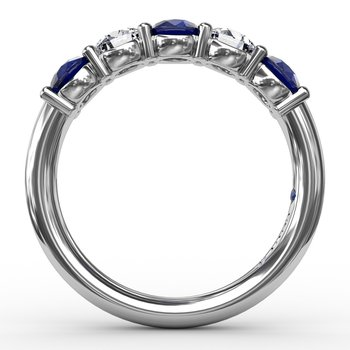Chunky Sapphire and Diamond Shared Prong Anniversary Band