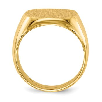 14k 16.0x17.0mm Closed Back Men's Signet Ring