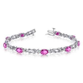 14k White Gold Natural Pink-Topaz And Diamond Tennis Bracelet