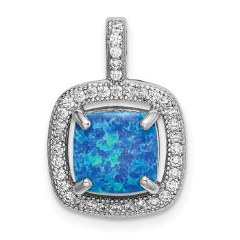 Sterling Silver Rhodium-plated Blue Square Created Opal w/CZ Pendant