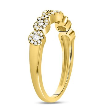 14kt Yellow Gold Womens Round Diamond 3-stone Band Ring 3/8 Cttw
