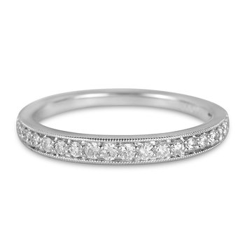 14K WG Diamond Wedding Band with Milgrain Edge
