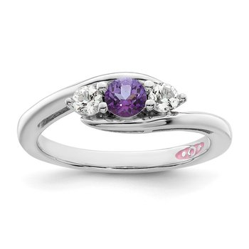 Sterling Silver Survivor Collection Clear & Purple Swarovski Topaz Sue Ring
