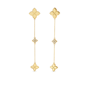 18Kt Gold Long Drop Earrings With Diamonds