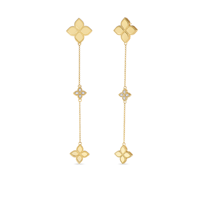 Roberto Coin Long Drop Earrings With Diamonds