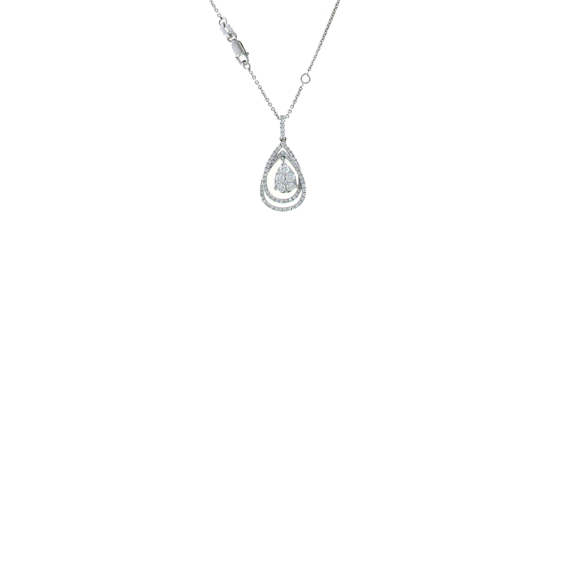 Roberto Coin 18Kt White Gold Diamond Tear Drop Neckalce