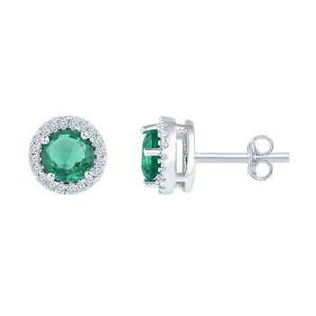 Sterling Silver Womens Round Lab-Created Emerald Solitaire Stud Earrings 1.00 Cttw