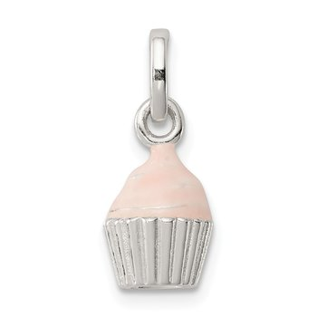 Sterling Silver Children's Pink Enameled Cupcake Pendant