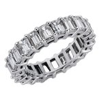 S. Kashi  & Sons 18K White Gold Emerad Cut Eernity Band