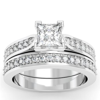 Cathedral Pave Diamond Engagement Ring with Matching Wedding Band
