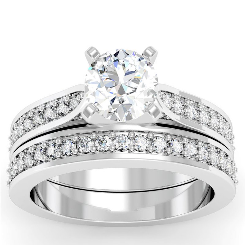 Motif Signature Cathedral Pave Diamond Engagement Ring With Matching