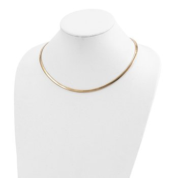 14k Two-tone Lt Reversible 4mm Omega w/extender Necklace
