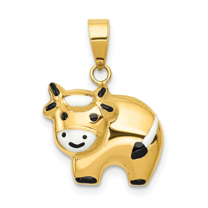 Lester Martin Online Collection 14k Enameled Cow Charm