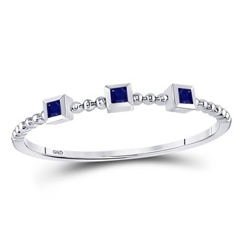 10kt White Gold Womens Princess Blue Sapphire 3-Stone Beaded Stackable Band Ring 1/20 Cttw