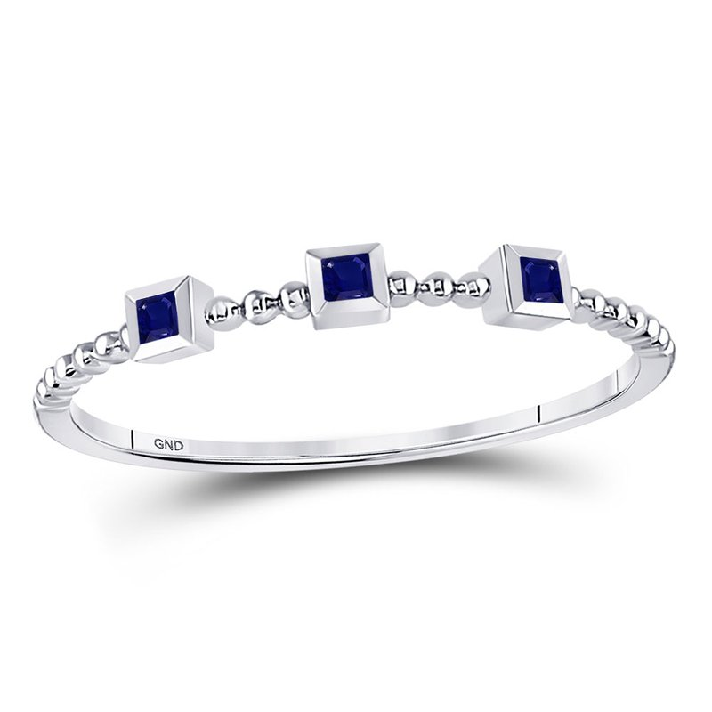 Gold-N-Diamonds, Inc. (Atlanta) 10kt White Gold Womens Princess Blue Sapphire 3-Stone Beaded Stackable Band Ring 1/20 Cttw