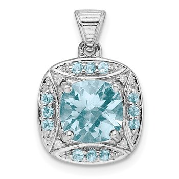 Sterling Silver Rhodium-plate Diamond & Lt Swiss Blue Topaz Pendant