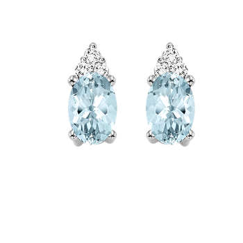10K White Gold Color Ensembles Prong Aquamarine Earrings 1/25CT