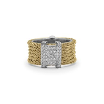 Yellow Cable Diva Ring with 18kt White Gold & DiamondsÂ