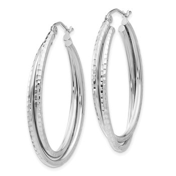 14k White Gold Diamond-cut Polished Oval Hoop Earring