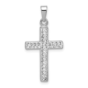Sterling Silver Rhodium Plated Stellux Crystal Cross Pendant