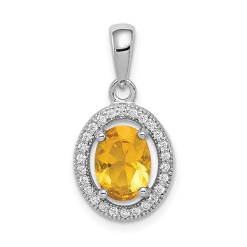 Sterling Silver Rhod-plated Yellow and White CZ Oval Pendant
