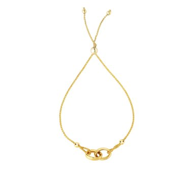 14K Gold Interlocked Rings Friendship Bracelet