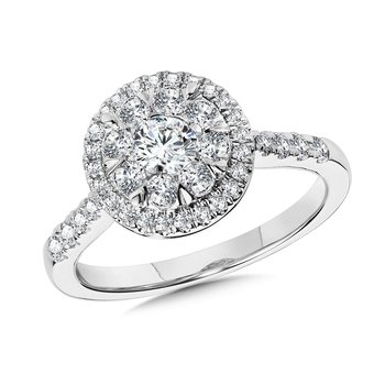 Round Cluster Diamond Mirage Halo Engagement Ring