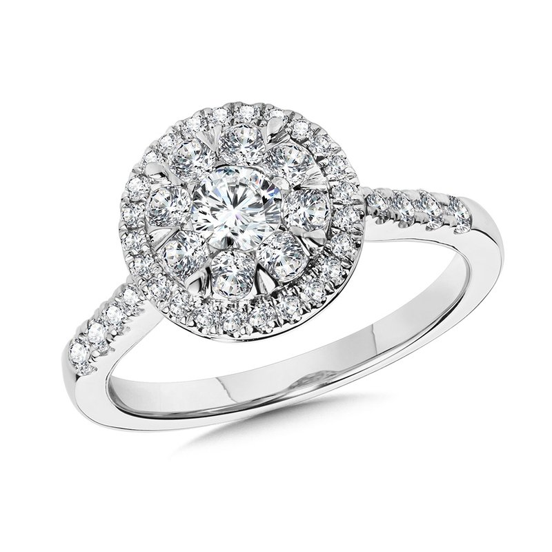 SDC Creations Round Cluster Diamond Mirage Halo Engagement Ring