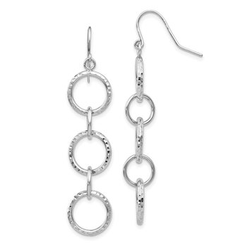 14k White Gold Diamond Cut Circle Dangle Earrings