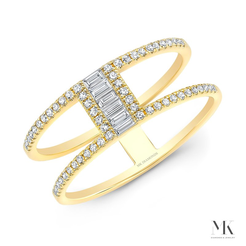 Yellow Gold Two Row Baguette Ring