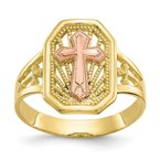 Quality Gold 10k Two-tone Filigree Cross Ring