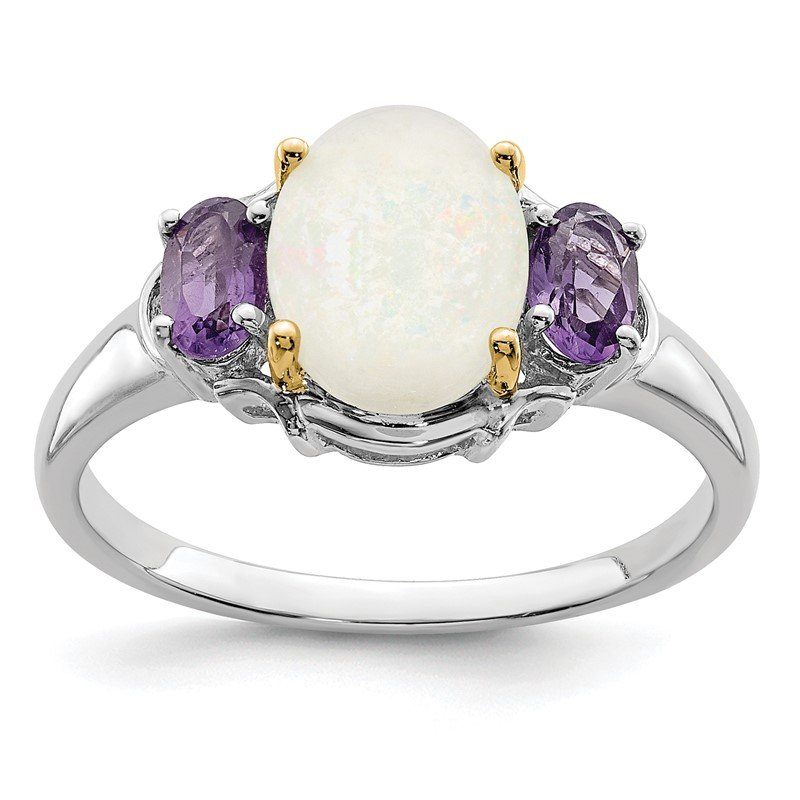 Quality Gold SS & 14k True Two-tone Opal & Amethyst Ring