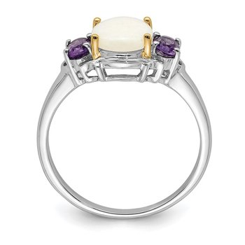 SS & 14k True Two-tone Opal & Amethyst Ring