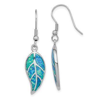 Sterling Silver Rhodium-plated Created Blue Opal Leaf Dangle Earrings