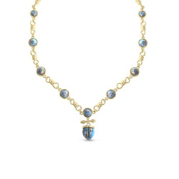 LuvMyJewelry Twisted Rays Turquoise Necklace in Sterling Silver & 14 KT Yellow Gold Plating
