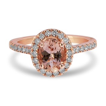 14K RG and diamond Engagement Ring set with Oval Morganite Shape Halo and 8x6 MM Oval Center in Split Prong Setting