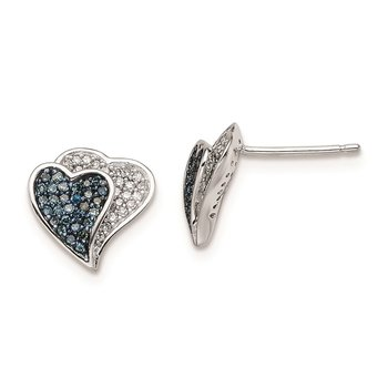 Sterling Silver Rhodium Plated Blue & White Diamond Hearts Earrings