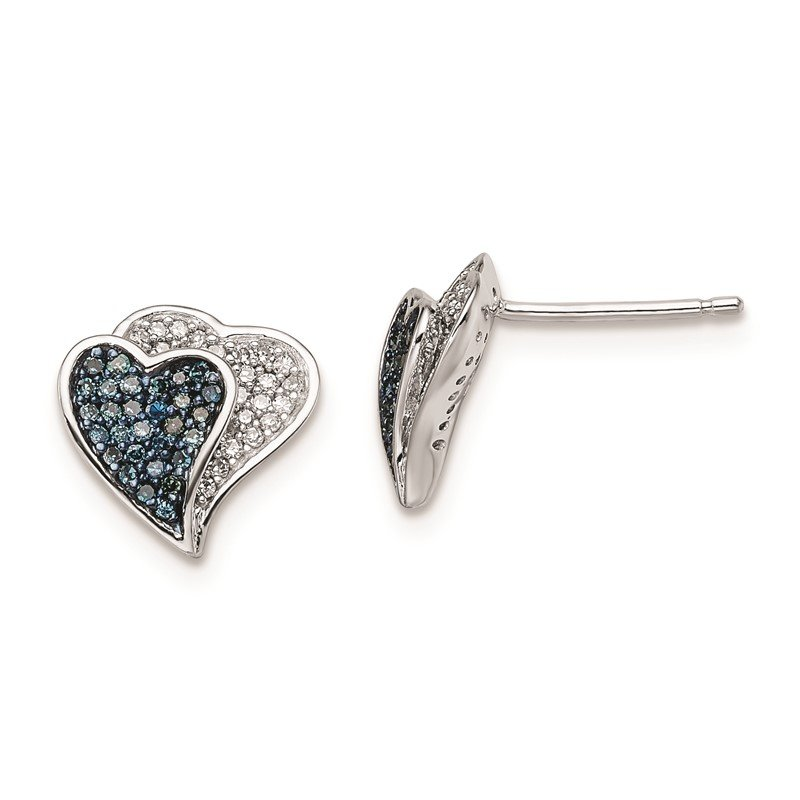 Quality Gold Sterling Silver Rhodium Plated Blue & White Diamond Hearts Earrings
