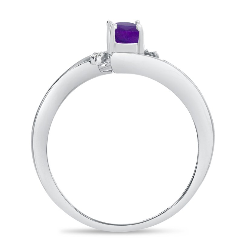 Color Merchants 10k White Gold Oval Amethyst And Diamond Wave Ring